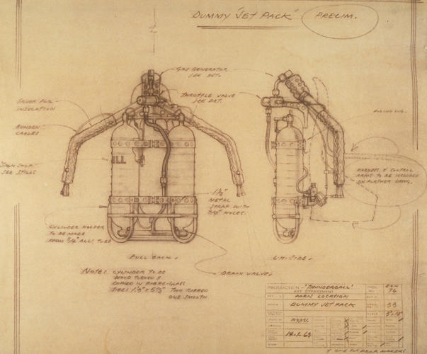 <p>An annotated sketch of James Bond's jetpack in <em>Thunderball</em>.</p>