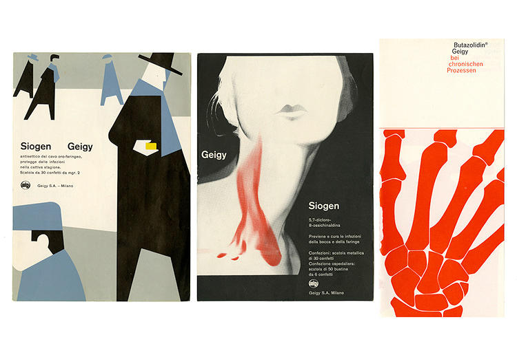 <p>Advertising cards for Geigy; Left &amp; Middle: c. 1958; Right: designed by Roland Aeschlimann c. 1964. Graphic Design Collection, thisisdisplay.com</p>
