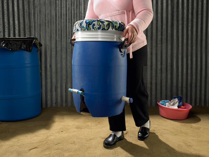 <p>It's easily carried, which makes it possible to wash clothes nearby water sources, or inside if weather is bad.</p>
