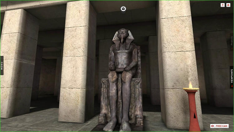 <p>The seated statue of Khufu recreated in Giza 3D.</p>