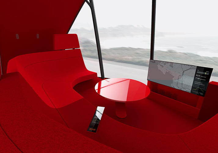 <p>Inside ATNBML, a concept for a driverless car</p>
