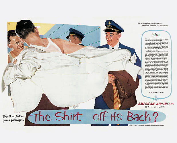 <p>In the '50s, a lot of ads were still made the old-fashioned way, with illustrations and wordy prose, to put consumers at ease. Here's one example for American Airlines (1953). The text on the right is practically a novel about a guy getting a spot on his shirt.</p>