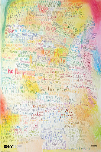 <p>Referring to the democratic union of designers, <a href=&quot;http://www.etsy.com/listing/97023140/debbie-millman-signed-aigany-30th&quot; target=&quot;_blank&quot;>Debbie Millman</a> lists the names of members in colored pencil.</p>