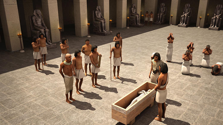 "<p>A recreation of the traditional ""Opening Mouth"" ceremony held at Khufu Pyramid Temple, where the eldest son of the dead king opens the eyes, nose, mouth and ears of the mummy so it can use its senses in the afterlife.</p>"