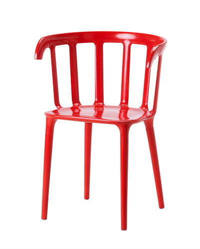 <p>Marcus Arvonen combined two classic Ikea chairs--one made of wood, the other of plastic--resulting in a wood-plastic–composite armchair. $59.99</p>