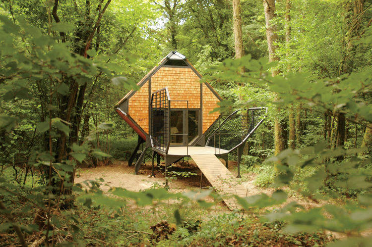 <p>Matali Crasset established a practice creating &quot;scenarios for living&quot;: quirky spaces and objects, such as this woodland escape, that evolve with the user's needs</p>