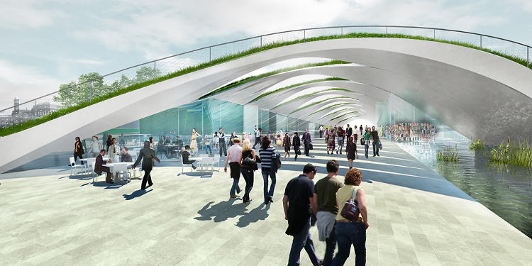 <p>Diller Scofidio Renfro and Hood Design propose a green-roofed cafe and walkway for the Sylvan Theater and Washington Monument grounds.</p>