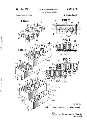 <p>The original 1951 Lego patent (now expired) specifies every possible dimension on its simple plastic bricks and tiny yellow dudes.</p>