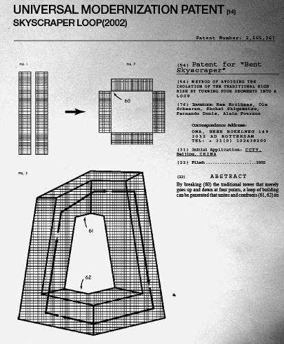 <p>Patents that protect specific types of buildings are a recent and fairly controversial development. This application (<a href=&quot;http://eat-a-bug.blogspot.com/2011/09/patents-by-rem-koolhaas.html&quot; target=&quot;_blank&quot;>via</a>) from 2002 is only a joke, perpetrated by Rem Koolhaas in the pages of<em> Content</em>, but it's not far off from the reality of some architects.</p>