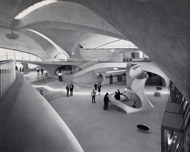 <p>&quot;Briefed to 'capture the spirit of flight,' Saarinen created a building of such futuristic virtuosity that it still looks modern 50 years on. … Reinforced concrete embeds a grid of steel rods. In a slab this is a bit like oversized chicken wire and enables gentle rolling curves like those seen here.&quot;</p>