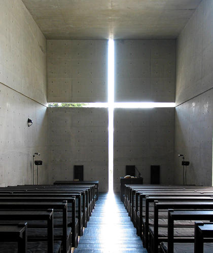 <p>&quot;A cut cross meets the ceiling, floor and walls of this small residential church with memorable flair. Ando failed to persuade the client that no glass was necessary in the cross itself. Twenty years later he told a lecture hall 'one day I will remove that glass … an architect must never, never, never give up.'&quot;</p>