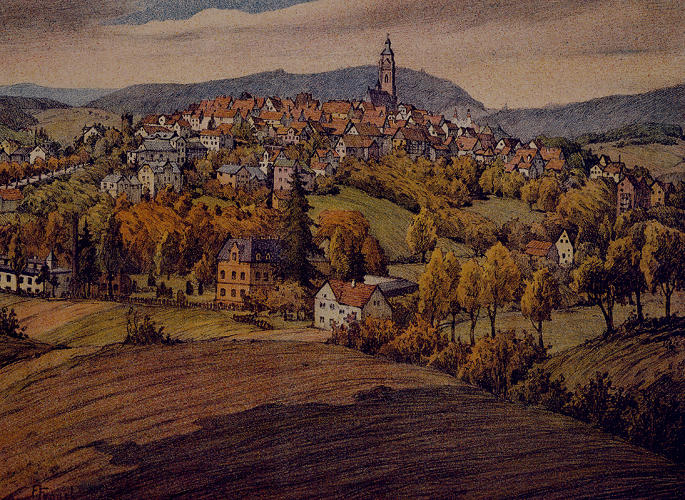 <p>This print of a small village in the Hessian hillside provides another example of vernacular architecture in a natural setting.</p>