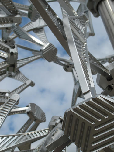 <p>The structure is made from high-grade aircraft aluminum, forming 54 hubs that move to reposition 224 arms.</p>
