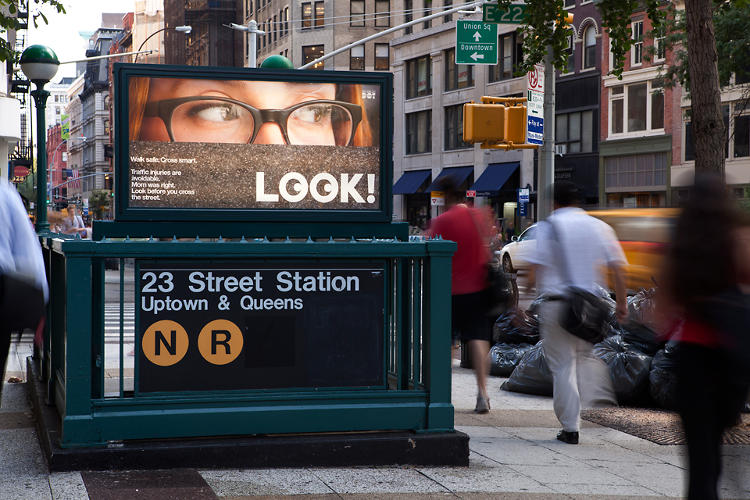 <p>LOOK! is a city campaign aimed at reminding distracted New Yorkers to pay attention on the road.</p>