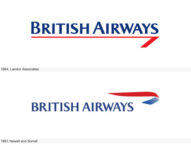 <p>Following the privatization of BA, a new all-caps logo from Landor Associates was launched in 1984. The line and sharp hook, called Speedwing, were derived from a combination of the British national flag, the Union Jack, and the Speedbird. In 1997, Newell and Sorrell transformed the Speedwing into a 3-D flying ribbon.</p>