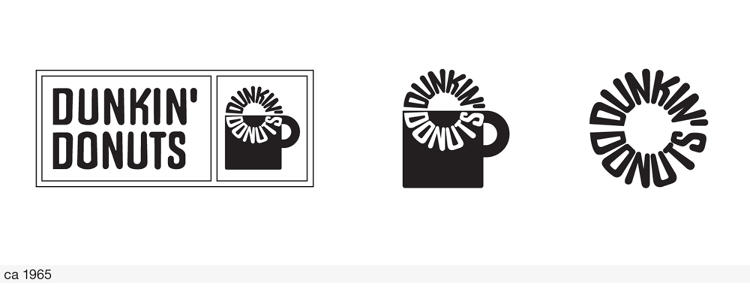 <p>The 1965 rendition of the Dunkin' Donuts logo consisted of several elements--the stacked brand name, the brand name as typographic donut, and the coffee mug--that could be used together or separately.</p>