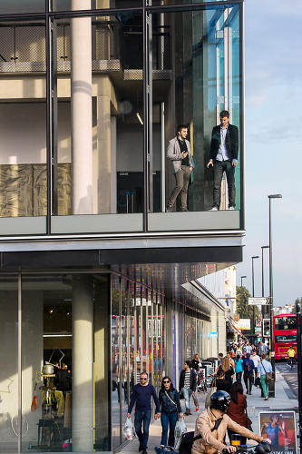 <p>The edge of the building, overlooking the street. Dyson awards final-year students at the RCA $50,000 to prototype promising projects.</p>
