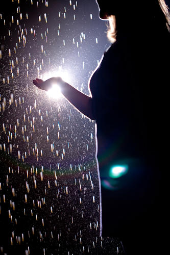 <p>3-D cameras track visitors' movements and momentarily halt the downpour overhead.</p>
