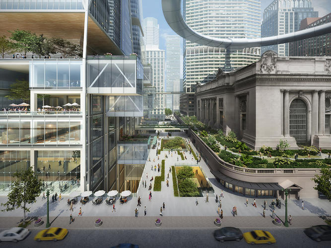 <p>SOM's plan would suspend a massive floating pedestrian deck between two new commercial towers, balancing over Grand Central like a massive halo.</p>