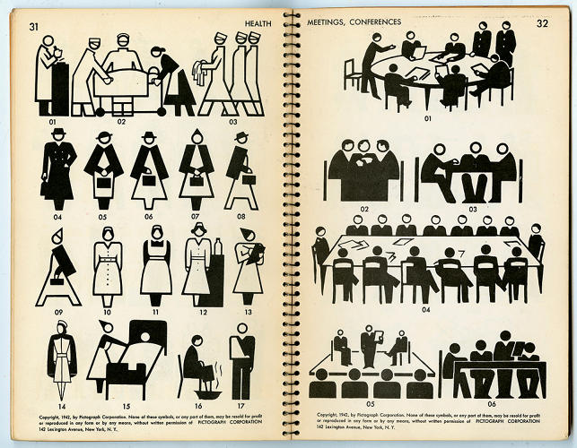 <p><em>Pictographs Today and Tomorrow</em> (1938) by Rudolf Modley is, along with Otto Neurath's Isotypes, the prototype of contemporary graphic sign-symbols.</p>