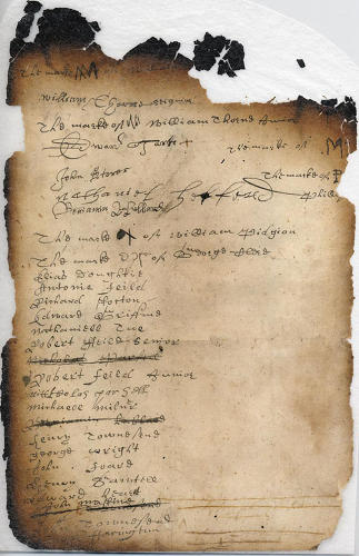 <p>In 1657, New Yorkers from Flushing signed this petition to stop Peter Stuyvesant from torturing local Quakers. According to Roberts, the document represents &quot;a vital antecedent of the provision for freedom of religion in the Bill of Rights.&quot;</p>