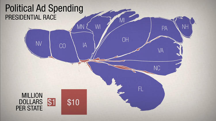 <p>This map shows the U.S., based on spending by outside groups like Super PACs. Florida, Ohio, and Virginia are receiving the most attention--based on this map, Tuesday will come down to at most 12 states.</p>