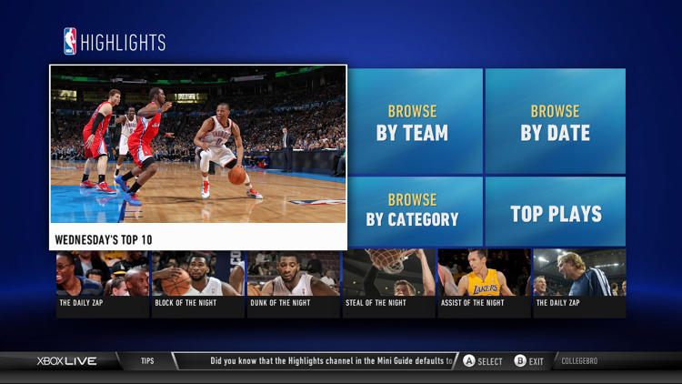 <p>This is what SmartGlass looks like during NBA Live. Notice the big-buttoned, touchable interface.</p>