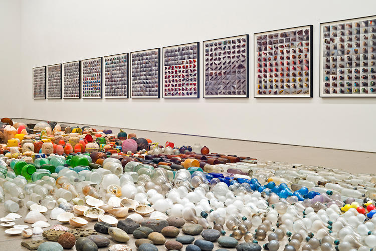 <p>The show is divided into two collections. One,<em> Sandstars</em>, was collected on Orozco's walks through Isla Arena, a wildlife preserve on the Baja coast--the same beach where he extracted the whale skeleton for his 2006 installation.</p>