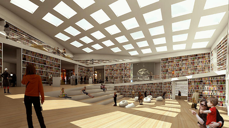 <p>ADEPT Architects (in collaboration with Sou Fujimoto)  won first prize for their proposal for a media library in Sweden features a transparent, layer-on-layer facade.</p>