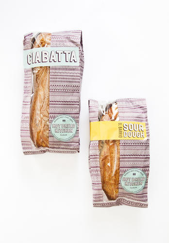 <p>Each HBK bread comes wrapped in a unique pattern made up of its own ingredients.</p>