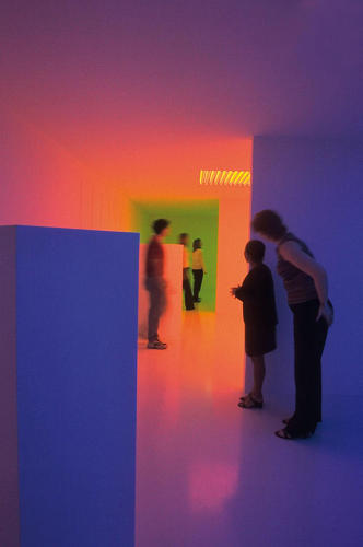 <p>The installation is meant to give visitors a pure experience of color, which Cruz-Diez sees as a participatory phenomenon.</p>