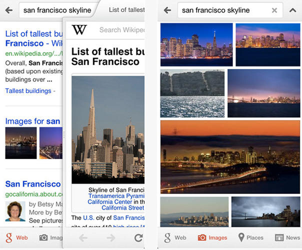 "<p>The Google Search iOS app. Says Wiley about designing for mobile: &quot;""It's something you can touch, and you can move things around and they respond in kind. That creates a whole new level of this need for desirability. . . . It has to have both momentum and physics that we particularly associate with physical objects. This puts us down an entirely new path in terms of the kind of design thinking we have in terms of what does it look like, how does it feel, does it work right. We start talking about very visual design, like the shadows and the gradients and the light sources and how all of these things create an aesthetic for the product.""</p>"