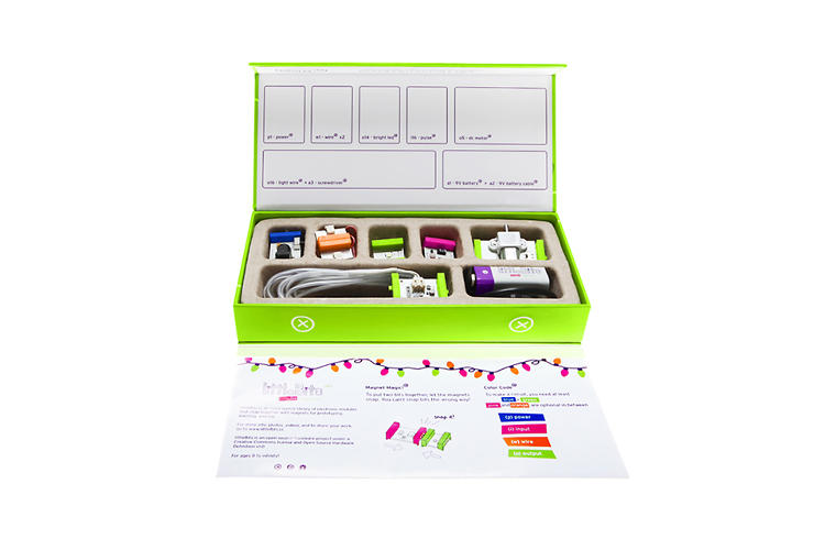 <p>LittleBits are color-coded by use. There are power sources, wires, input modules, and output modules.</p>