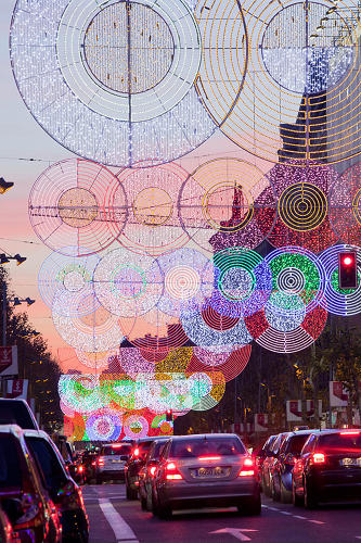 <p>Architect Teresa Sapey's contribution is an amazing optical light show installed over one of the city's busiest commercial thoroughfares.</p>