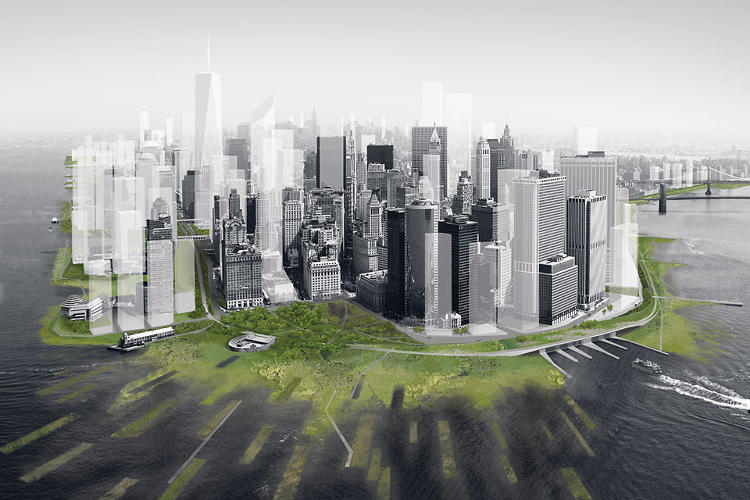 <p>Included in MoMA's 2010 <em>Rising Currents</em> exhibition, ARO's proposal centers on a soft grade of wetlands that would buffer New York from storm surge.</p>