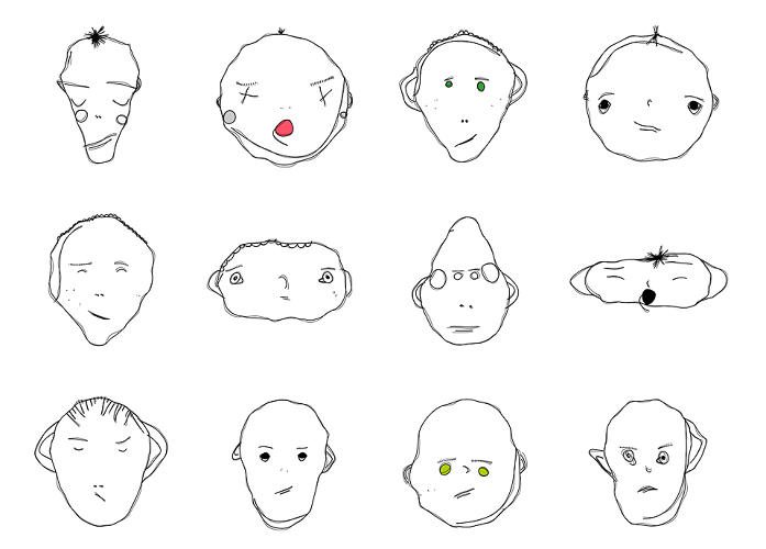 <p>Its creator has coded general rules of how to shape a nose or mouth, and generally how each element should be positioned.</p>