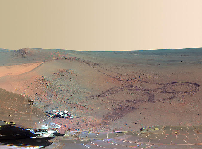 <p>The image is a composite of 817 photos taken by the Pancam between December 21, 2011 and May 8, 2012. If our eyes don't deceive us, humans have already begun to colonize the Red Planet.</p>