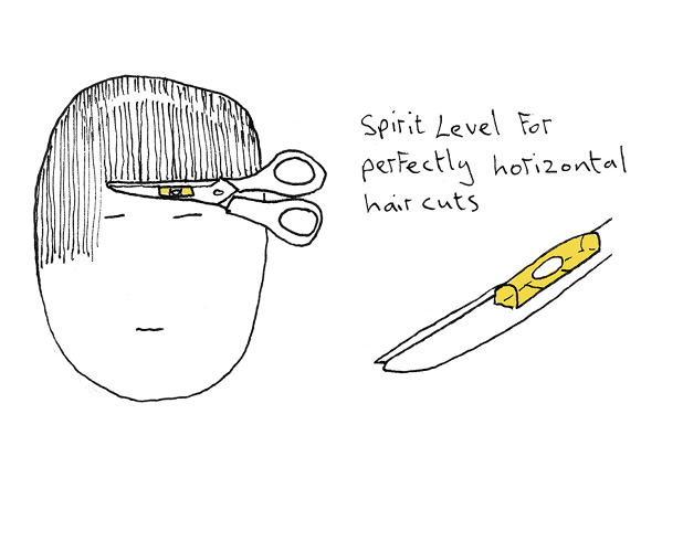 <p>A pair of scissors with a level would make bang-trimming a bit easier.</p>