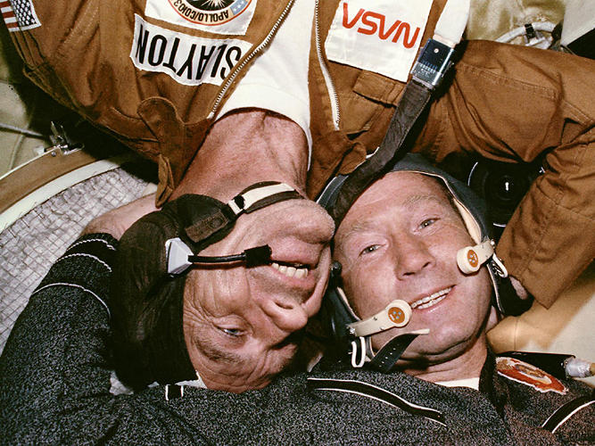 <p><strong>Joint Mission</strong><br /> On July 17, 1975, something momentous happened: two Cold War-rivals met in space during the Apollo-Soyuz Test Project. When their respective spacecraft rendezvous-ed and docked, a new era of cooperative ventures in space began.</p>  <p>When President Kennedy called for a manned moon landing in 1961, he spoke of &quot;battle that is now going on around the world between freedom and tyranny&quot; and referred to the &quot;head start obtained by the Soviets with their large rocket engines.&quot;</p>  <p>But by the mid-70s things had changed. The U.S. had &quot;won&quot; the race to the moon, with six Apollo landings between 1969 and 1972. Both nations had launched space stations, the Russian Salyut and American Skylab. With the space shuttle still a few years off and the diplomatic chill thawing, the time was right for a joint mission.</p>