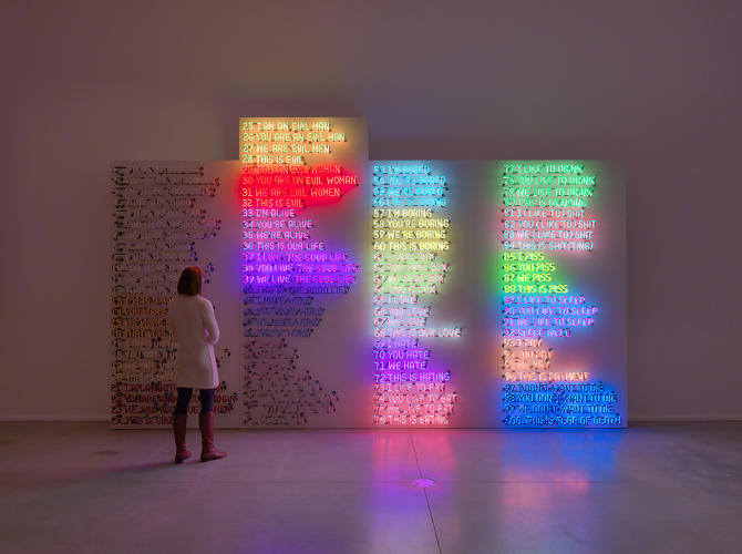 <p>A new show of Bruce Nauman's work at Hauser &amp; Wirth Savile Row brings together some of the artist's most notable works. Here, <em>Good Boy, Bad Boy</em>, 1986-87.</p>