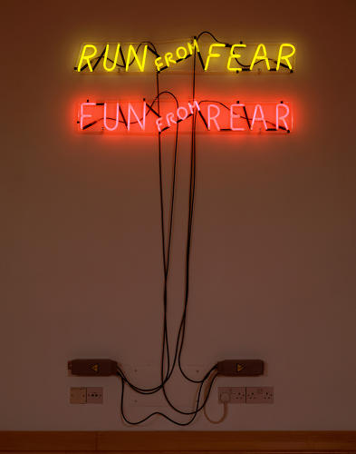 <p><em>Run from Fear, Fun from Rear</em>, 1972, is one of the Freudian word plays that have made Nauman famous.</p>