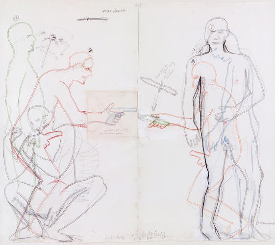 <p>A fascinating sketch study for the <em>Sex and Death</em> neon sculpture, also from 1985.</p>