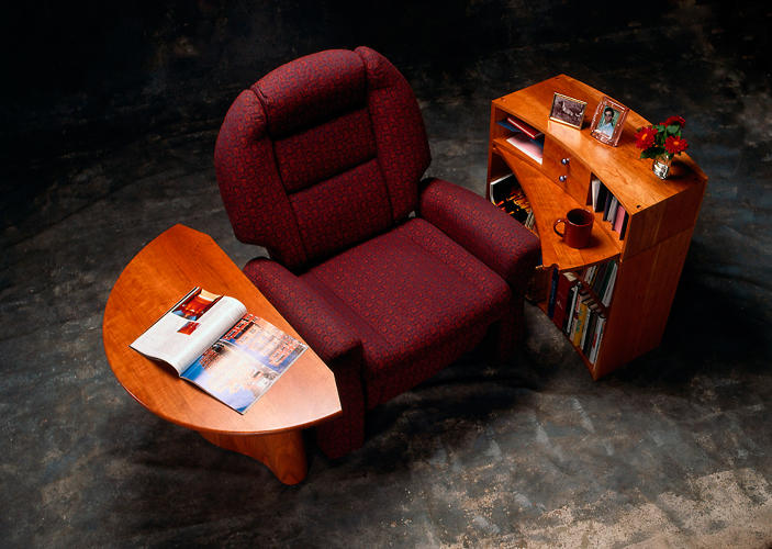 <p>For one, the chair was built upon a mesh architecture. It was also surrounded by a suite of end-tables, in recognition of how important it was for the elderly to have everything nearby.</p>