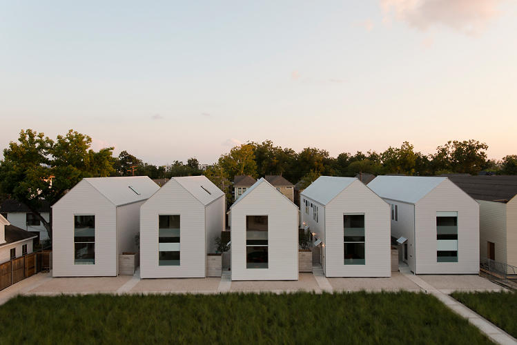 <p>The two-story, 1,900-square foot homes are simple and light, with a gables silhouette inspired by Hugh Newell Jacobsen, a champion amongst vernacular American architecture fans.</p>