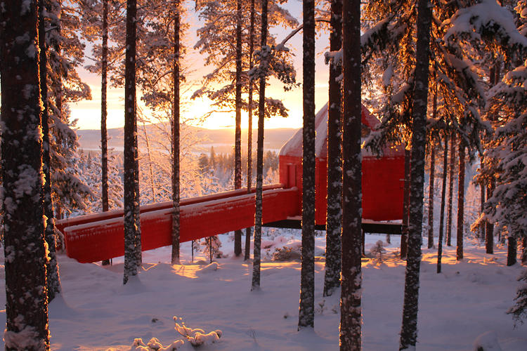 <p>Sweden's Tree Hotel, a collection of tree houses just south of the Arctic Circle.</p>