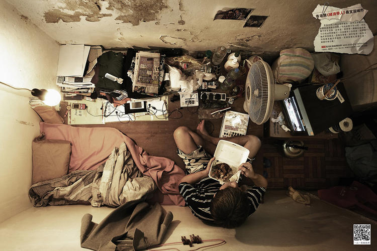 <p>This image of a one-room Hong Kong apartment was shot to draw attention to sub-par housing conditions.</p>