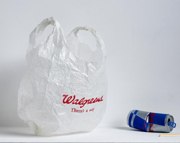 <p>The Walgreens bag crinkles just so, the Red Bull can crumples convincingly.</p>
