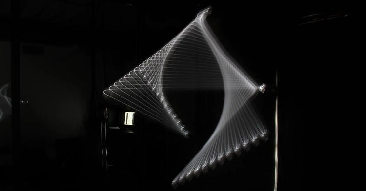 <p>By attaching a DSLR to one of the robotic arms, students were able to capture beautiful forms through long-exposure photography--and then explore those shapes in three dimensions.</p>