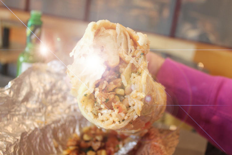 <p>Every time I swung the super burrito toward my face, I risked knocking out my own teeth.</p>