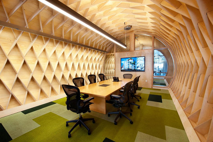 <p>As well as a sculptural tidal wave that houses a meeting room.</p>